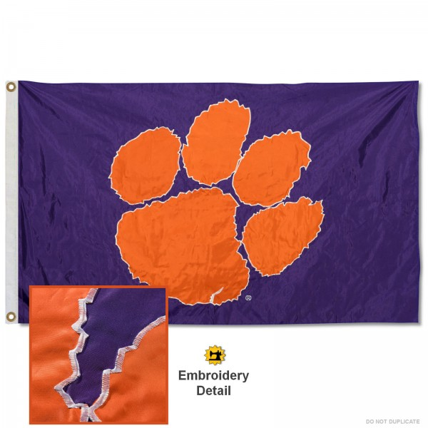 Clemson Tigers Purple Nylon Embroidered Flag measures 3'x5', is made of 100% nylon, has quadruple flyends, two metal grommets, and has double sided appliqued and embroidered University logos. These Clemson Tigers 3x5 Flags are officially licensed by the selected university and the NCAA.