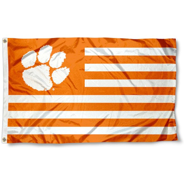 Clemson Tigers Striped Flag measures 3'x5', is made of polyester, offers double stitched flyends for durability, has two metal grommets, and is viewable from both sides with a reverse image on the opposite side. Our Clemson Tigers Striped Flag is officially licensed by the selected school university and the NCAA.