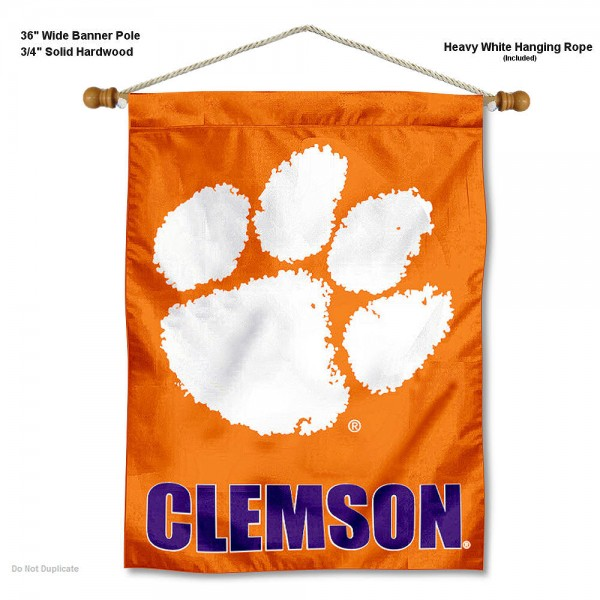 "Clemson Tigers Wall Banner is constructed of polyester material, measures a large 30""x40"", offers screen printed athletic logos, and includes a sturdy 3/4"" diameter and 36"" wide banner pole and hanging cord. Our Clemson Tigers Wall Banner is Officially Licensed by the selected college and NCAA."
