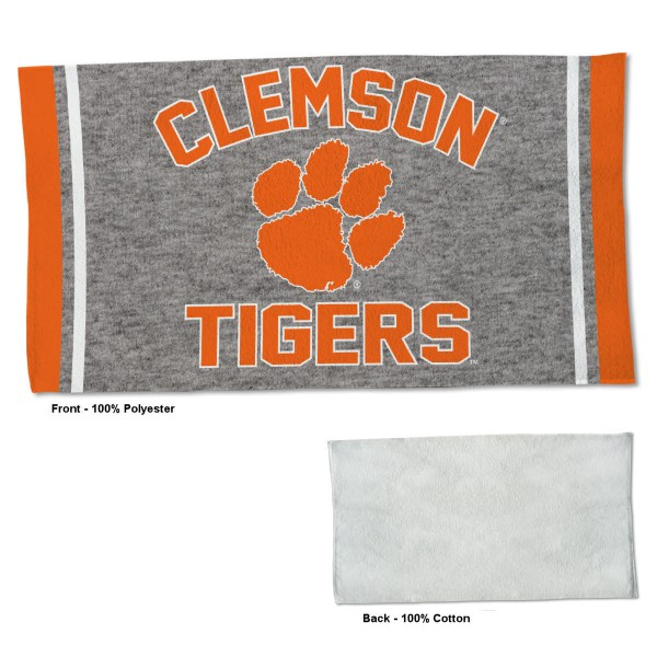Clemson Tigers Workout Exercise Towel measures 22x42 inches, is made of 100% Polyester on the front and 100% Cotton on the back, has double stitched sewing perimeter, and Graphics and Logos, as shown. Our Clemson Tigers Workout Exercise Towel is officially licensed by the selected university and the NCAA. Also, machine washable and dryer safe.