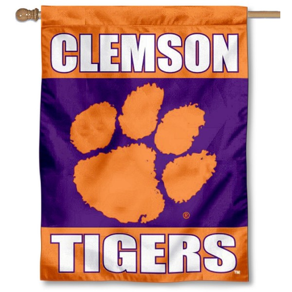 Clemson Two Sided House Flag is a vertical house flag which measures 30x40 inches, is made of 2 ply 100% polyester, offers screen printed NCAA team insignias, and has a top pole sleeve to hang vertically. Our Clemson Two Sided House Flag is officially licensed by the selected university and the NCAA.