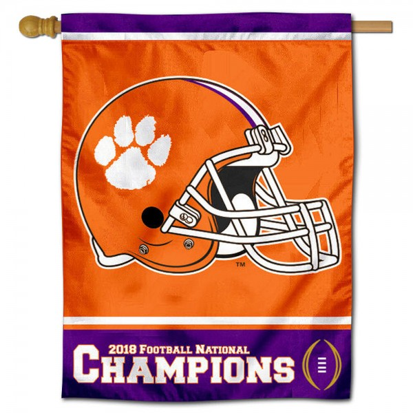 "Clemson University 2018 National Champs Banner Flag is constructed of polyester material, is a vertical house flag, measures 30""x40"", offers screen printed athletic insignias, and has a top pole sleeve to hang vertically. Our Clemson University 2018 National Champs Banner Flag is Officially Licensed by Clemson University and NCAA."