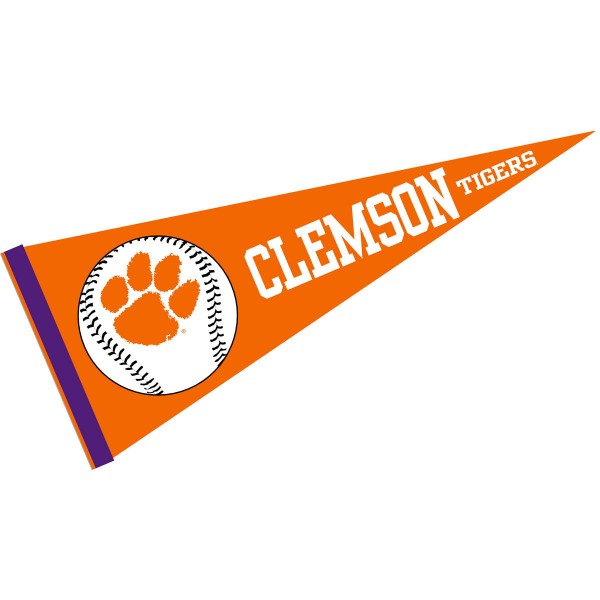 Clemson University Baseball Pennant consists of our full size sports pennant which measures 12x30 inches, is constructed of felt, is single sided imprinted, and offers a pennant sleeve for insertion of a pennant stick, if desired. This Clemson Tigers Pennant Decorations is Officially Licensed by the selected university and the NCAA.