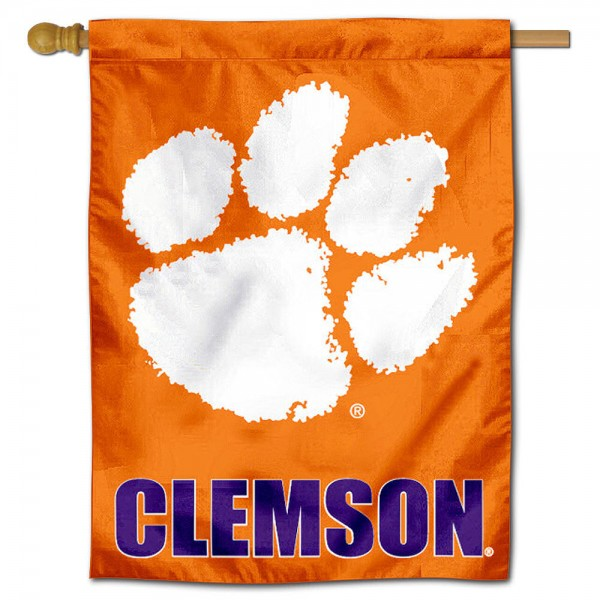 "Clemson University Decorative Flag is constructed of polyester material, is a vertical house flag, measures 30""x40"", offers screen printed athletic insignias, and has a top pole sleeve to hang vertically. Our Clemson University Decorative Flag is Officially Licensed by Clemson University and NCAA."