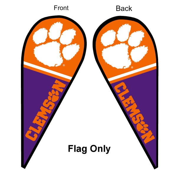 Clemson University Feather Flag is 9 feet by 3 feet and is a tall 10' when fully assembled. The feather flag is made of thick polyester and is readable and viewable on both sides. The screen printed Clemson Tigers double sided logos are NCAA Officially Licensed and is Team and University approved.