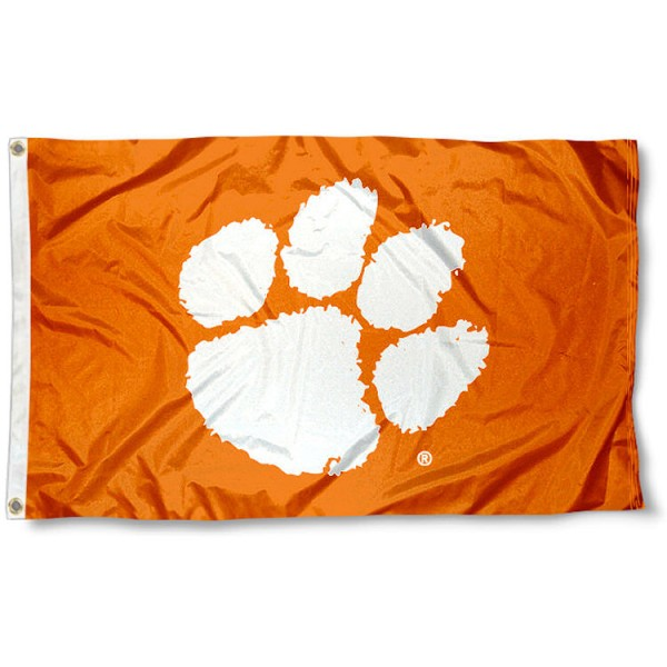 Clemson University Flag - Orange measures 3'x5', is made of 100% poly, has quadruple stitched sewing, two metal grommets, and has double sided Clemson University logos. Our Clemson University Flag - Orange is officially licensed by the selected university and the NCAA