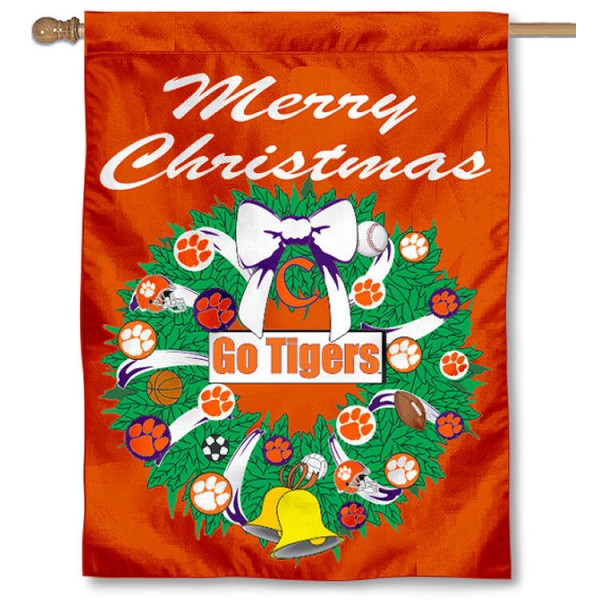 Clemson University Holiday Flag is a decorative house flag, 30x40 inches, made of 100% polyester, Holiday NCAA team insignias, and has a top pole sleeve to hang vertically. Our Clemson University Holiday Flag is officially licensed by the selected university and the NCAA.