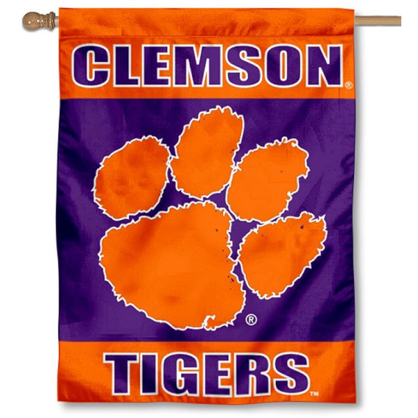 Clemson University House Flag is a vertical house flag which measures 30x40 inches, is made of 2 ply 100% polyester, offers dye sublimated NCAA team insignias, and has a top pole sleeve to hang vertically. Our Clemson University House Flag is officially licensed by the selected university and the NCAA