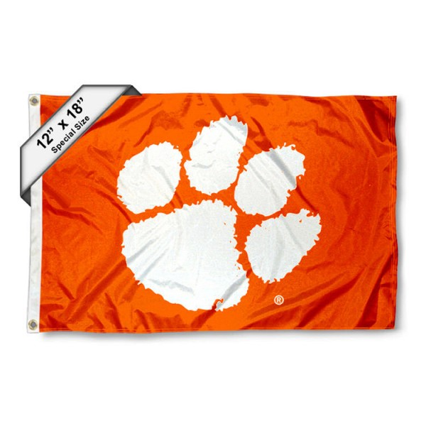 Clemson University Mini Flag is 12x18 inches, polyester, offers quadruple stitched flyends for durability, has two metal grommets, and is double sided. Our mini flags for Clemson University are licensed by the university and NCAA and can be used as a boat flag, motorcycle flag, golf cart flag, or ATV flag