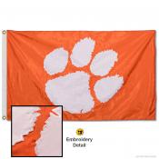 Clemson University Orange Nylon Embroidered Flag