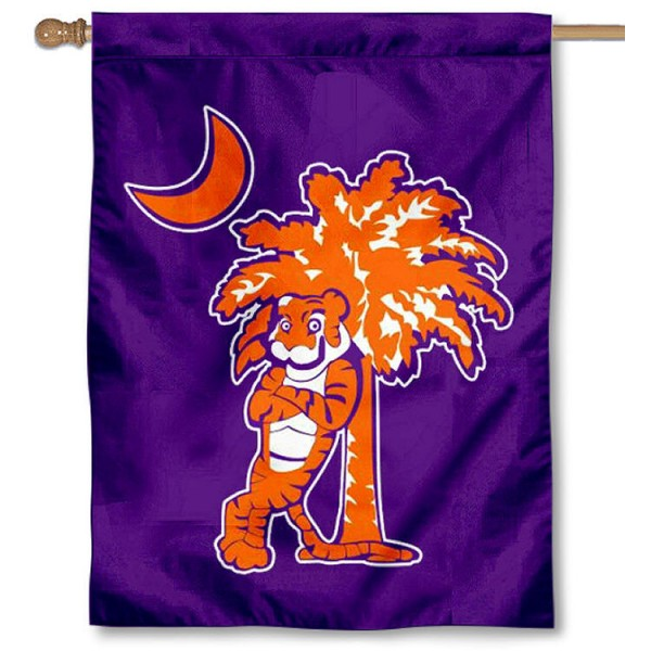 Clemson University Palm Logo Banner Flag is a vertical house flag which measures 30x40 inches, is made of 2 ply 100% polyester, offers dye sublimated NCAA team insignias, and has a top pole sleeve to hang vertically. Our Clemson University Palm Logo Banner Flag is officially licensed by the selected university and the NCAA.