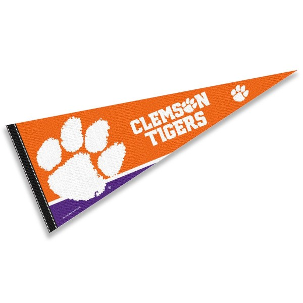 Clemson University Pennant consists of our full size sports pennant which measures 12x30 inches, is constructed of felt, is single sided imprinted, and offers a pennant sleeve for insertion of a pennant stick, if desired. This Tigers Pennant Decorations is Officially Licensed by the selected university and the NCAA.