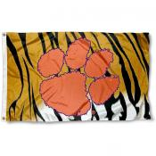 Clemson University Stripes Logo Flag