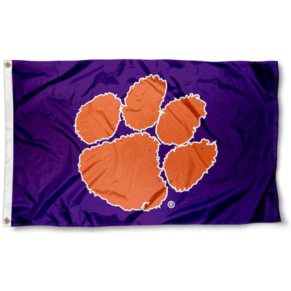 Clemson University Tigers Flag measures 3'x5', is made of 100% poly, has quadruple stitched sewing, two metal grommets, and has double sided Clemson University logos. Our Clemson University Tigers Flag is officially licensed by the selected university and the NCAA