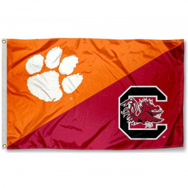 Clemson vs. USC Gamecocks House Divided 3x5 Flag sizes at 3x5 feet, is made of 100% polyester, has quadruple-stitched fly ends, and the university logos are screen printed into the Clemson vs. USC Gamecocks House Divided 3x5 Flag. The Clemson vs. USC Gamecocks House Divided 3x5 Flag is approved by the NCAA and the selected universities.