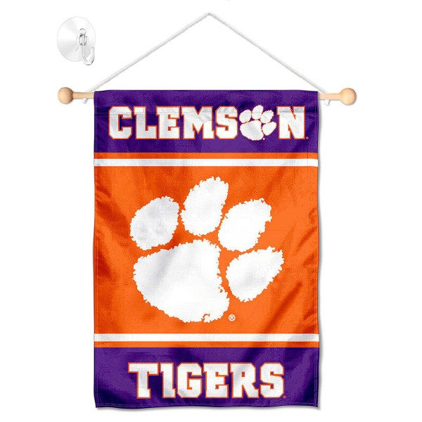 "Clemson Window and Wall Banner kit includes our 13""x18"" garden banner which is made of 2 ply poly with liner and has screen printed licensed logos. Also, a 17"" wide banner pole with suction cup is included so your Clemson Window and Wall Banner is ready to be displayed with no tools needed for setup. Fast Overnight Shipping is offered and the flag is Officially Licensed and Approved by the selected team."