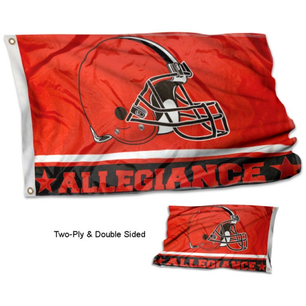 Cleveland Browns Allegiance Flag measures 3'x5', is made of 2-ply double sided polyester with liner, has quadruple stitched sewing, two metal grommets, and has two sided team logos. Our Cleveland Browns Allegiance Flag is officially licensed by the selected team and the NFL and is available with overnight express shipping.