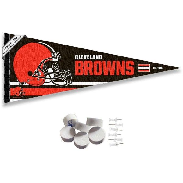 This Cleveland Browns Banner Pennant with Tack Wall Pads is 12x30 inches, is made of premium felt blends, has a pennant stick sleeve, and the team logos are single sided screen printed. Our Cleveland Browns Banner Pennant Flag is NFL Officially Licensed and include our 6 pack of wall adhesive pads and tacks.