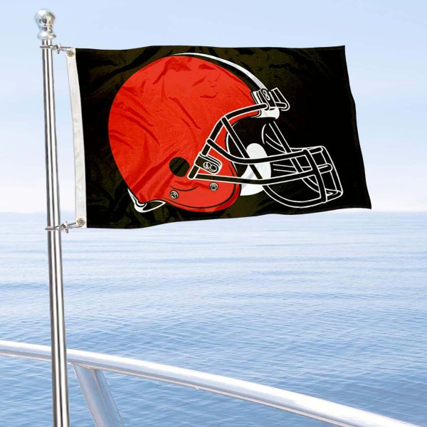 "Our Cleveland Browns Boat and Nautical Flag is 12""x18"", made of three-ply poly, has a solid header with two metal grommets, and is double sided. This Boat and Nautical Flag for Cleveland Browns is Officially Licensed by the NFL and can also be used as a motorcycle flag, boat flag, golf cart flag, or recreational flag."