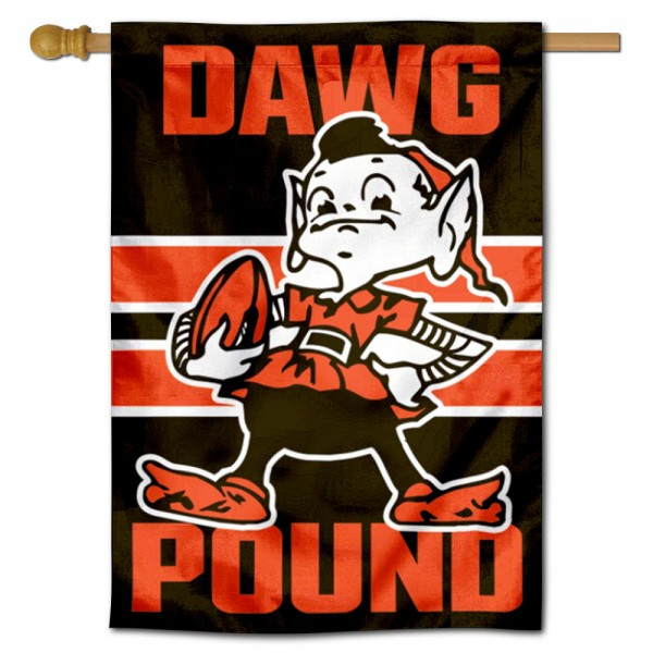 Cleveland Browns Brownie Dawg Pound Double Sided House Banner is screen printed with Cleveland Browns logos, is made of 2-ply 100% polyester, and is two sided and double sided. Our banners measure 28x40 inches and hang vertically with a top pole sleeve to insert your banner pole or flagpole.
