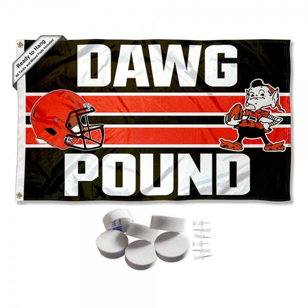 Our Cleveland Browns Dawg Pound Banner Flag with Tack Wall Pads is double sided, made of poly, 3'x5', has two metal grommets, indoor or outdoor, and four-stitched fly ends. These Cleveland Browns Dawg Pound Banner Flag with Tack Wall Padss are Officially Approved by the Cleveland Browns. Tapestry Wall Hanging Tack Pads which include a 6 pack of banner display pads with 6 tacks allowing you to hang your pennant on any wall damage-free.
