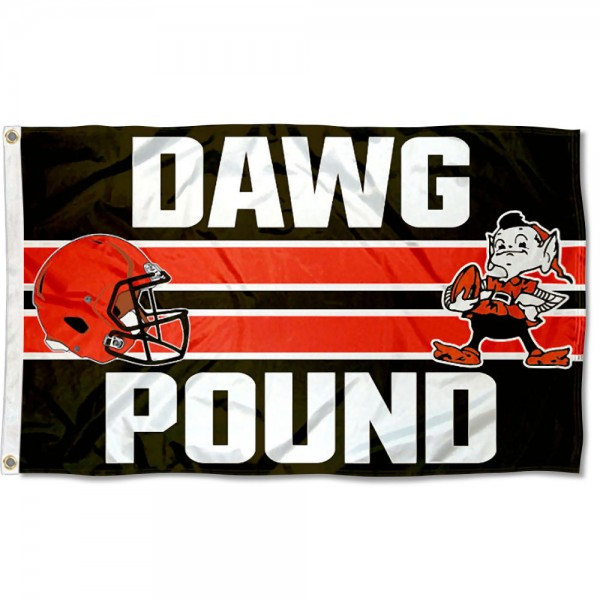Our Cleveland Browns Dawg Pound Flag is double sided, made of poly, 3'x5', has two metal grommets, indoor or outdoor, and four-stitched fly ends. These Cleveland Browns Dawg Pound Flags are Officially Approved by the Cleveland Browns.