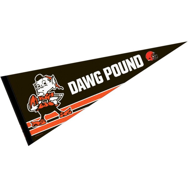 This Cleveland Browns Dawg Pound Pennant is 12x30 inches, is made of premium felt blends, has a pennant stick sleeve, and the team logos are single sided screen printed. Our Cleveland Browns Dawg Pound Pennant is NFL Officially Licensed.