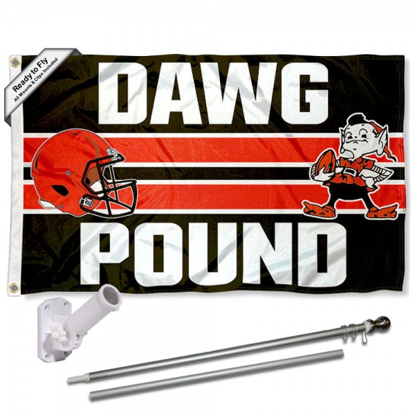 Our Cleveland Browns Dawg Pound Slogan Flag Pole and Bracket Kit includes the flag as shown and the recommended flagpole and flag bracket. The flag is made of polyester, has quad-stitched flyends, and the NFL Licensed team logos are double sided screen printed. The flagpole and bracket are made of rust proof aluminum and includes all hardware so this kit is ready to install and fly.