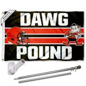 Cleveland Browns Dawg Pound Slogan Flag Pole and Bracket Kit