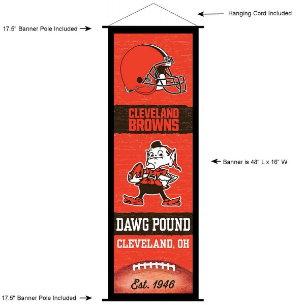 "This ""ready to hang"" Cleveland Browns Decor and Banner is made of polyester material, measures a large 17.5"" x 48"", offers screen printed athletic logos, and includes both top and bottom 3/4"" diameter plastic banner poles and hanging cord. Our Cleveland Browns D�cor and Banner is Officially Licensed by the selected team and NFL."