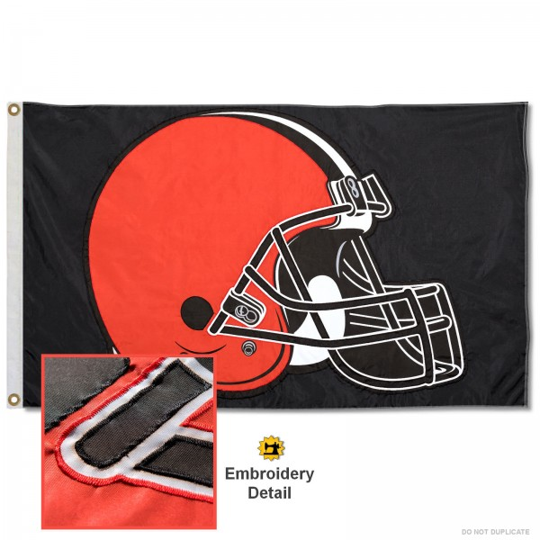 This Cleveland Browns Embroidered Nylon Flag is double sided, made of nylon, 3'x5', has two metal grommets, indoor or outdoor, and four-stitched fly ends. These Cleveland Browns Embroidered Nylon Flags are Officially Approved the Cleveland Browns and NFL.