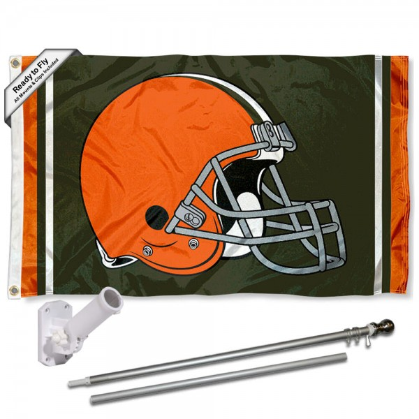 Our Cleveland Browns Flag Pole and Bracket Kit includes the flag as shown and the recommended flagpole and flag bracket. The flag is made of polyester, has quad-stitched flyends, and the NFL Licensed team logos are double sided screen printed. The flagpole and bracket are made of rust proof aluminum and includes all hardware so this kit is ready to install and fly.