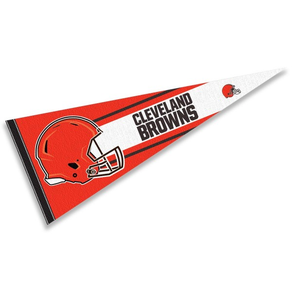 This Cleveland Browns Football Pennant measures 12x30 inches, is constructed of felt, and is single sided screen printed with the Cleveland Browns logo and helmets. This Cleveland Browns Football Pennant is a NFL Officially Licensed product.