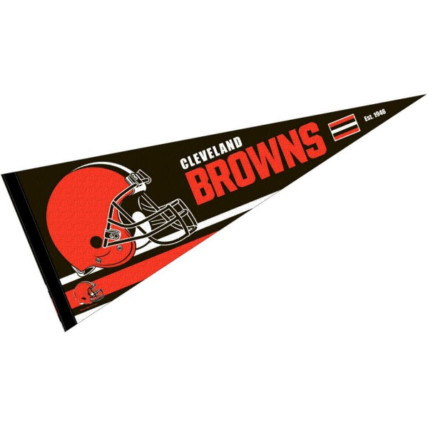 This Cleveland Browns Full Size Pennant is 12x30 inches, is made of premium felt blends, has a pennant stick sleeve, and the team logos are single sided screen printed. Our Cleveland Browns Full Size Pennant is NFL Officially Licensed.