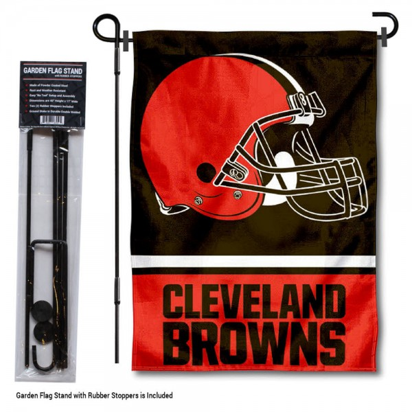 "Cleveland Browns Garden Flag and Stand kit includes our 13""x18"" garden banner which is made of 2 ply poly with liner and has screen printed licensed logos. Also, a 40""x17"" inch garden flag stand is included so your Cleveland Browns Garden Flag and Stand is ready to be displayed with no tools needed for setup. Fast Overnight Shipping is offered and the flag is Officially Licensed and Approved by the selected team."