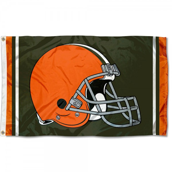 Our Cleveland Browns Logo Flag is double sided, made of poly, 3'x5', has two metal grommets, indoor or outdoor, and four-stitched fly ends. These Cleveland Browns Logo Flags are Officially Licensed by the NFL.