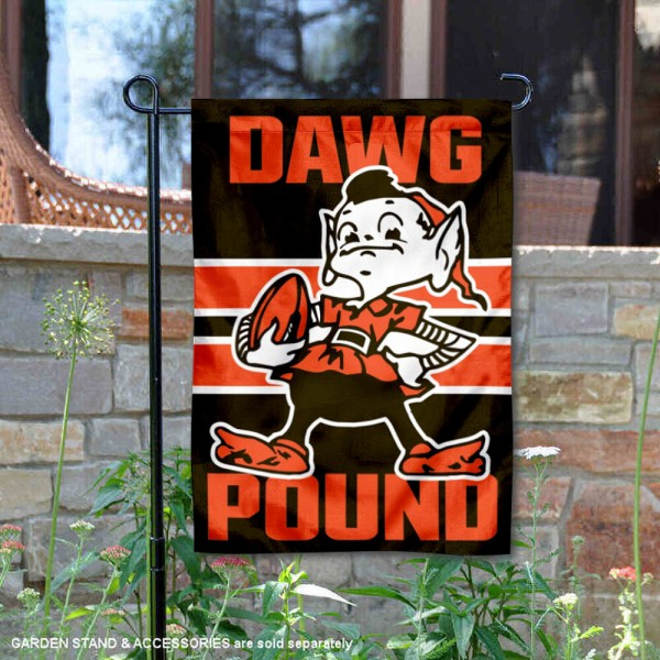 Cleveland Browns Nation Dawg Pound Garden Flag is 12.5x18 inches in size, is made of 2-ply polyester, and has two sided screen printed logos and lettering. Available with Express Next Day Ship, our Cleveland Browns Nation Dawg Pound Garden Flag is NFL Officially Licensed and is double sided.