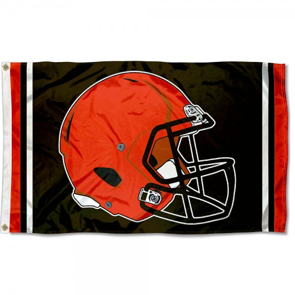 Our Cleveland Browns New Helmet Flag is two sided, made of poly, 3'x5', Overnight Shipping, has two metal grommets, indoor or outdoor, and four-stitched fly ends. These Cleveland Browns New Helmet Flags are Officially Approved by the Cleveland Browns.