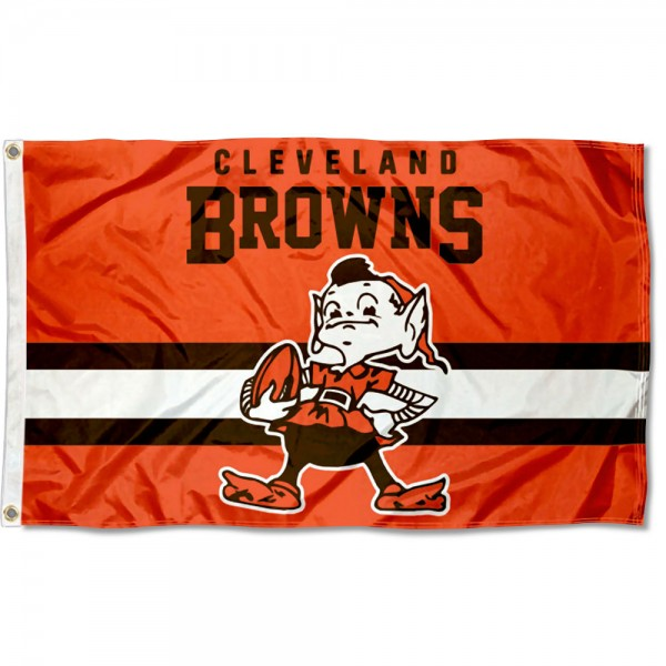 Our Cleveland Browns Throwback Retro Vintage Logo Flag is double sided, made of poly, 3'x5', has two metal grommets, indoor or outdoor, and four-stitched fly ends. These Cleveland Browns Throwback Retro Vintage Logo Flags are Officially Approved by the Cleveland Browns.