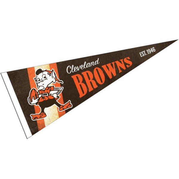 This Cleveland Browns Throwback Vintage Retro Pennant is 12x30 inches, is made of premium felt blends, has a pennant stick sleeve, and the team logos are single sided screen printed. Our Cleveland Browns Throwback Vintage Retro Pennant is NFL Officially Licensed.
