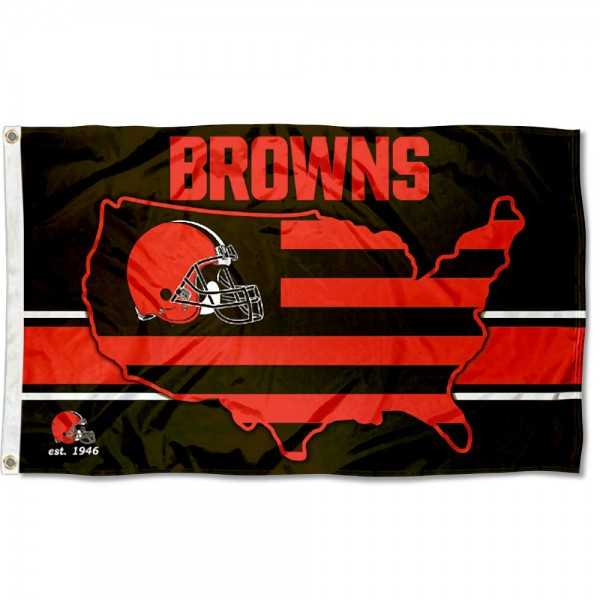Our Cleveland Browns USA Country Flag is double sided, made of poly, 3'x5', has two metal grommets, indoor or outdoor, and four-stitched fly ends. These Cleveland Browns USA Country Flags are Officially Approved by the Cleveland Browns.