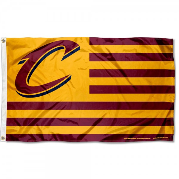 Cleveland Cavaliers Americana Stripes Nation Flag measures 3x5 feet, is made of polyester, offers quad-stitched flyends, has two metal grommets, and is viewable from both sides with a reverse image on the opposite side. Our Cleveland Cavaliers Americana Stripes Nation Flag is Genuine NBA Merchandise.