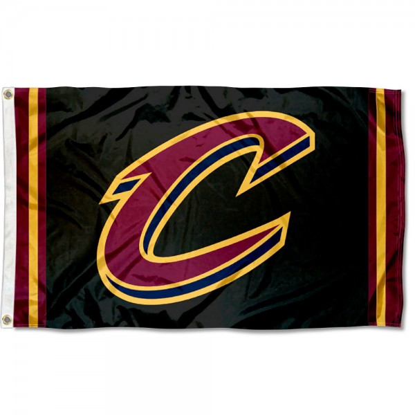 The Cleveland Cavaliers Black C Logo Flag is four-stitched bordered, double sided, made of poly, 3'x5', and has two grommets. These Cleveland Cavaliers Black C Logo Flags are NBA Genuine Merchandise.