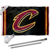 Cleveland Cavaliers Black Flag Pole and Bracket Kit