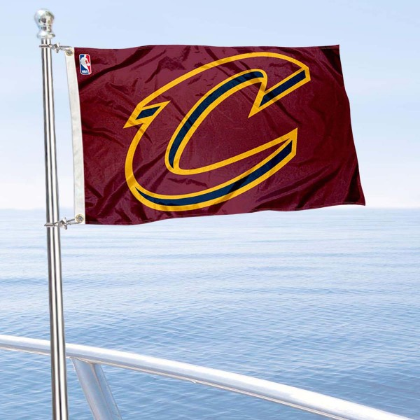 """Our Cleveland Cavaliers Boat and Nautical Flag is 12""""x18"""", made of three-ply poly, has a solid header with two metal grommets, and is double sided. This Boat and Nautical Flag for Cleveland Cavaliers is Officially Licensed by the NBA and can also be used as a motorcycle flag, boat flag, golf cart flag, or recreational flag."""