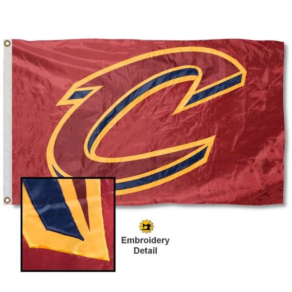 This Cleveland Cavaliers Embroidered Nylon Flag is double sided, made of nylon, 3'x5', has two metal grommets, indoor or outdoor, and four-stitched fly ends. These Cleveland Cavaliers Embroidered Nylon Flags are Officially Approved the Cleveland Cavaliers and NBA.