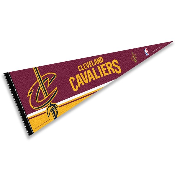 This Cleveland Cavaliers Pennant measures 12x30 inches, is constructed of felt, and is single sided screen printed with the Cleveland Cavaliers logo and insignia. Each Cleveland Cavaliers Pennant is a NBA Officially Licensed product.