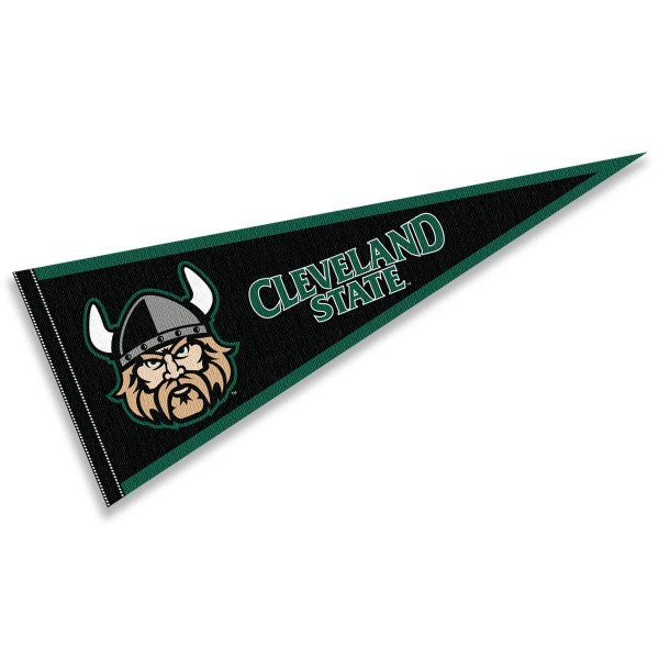 Cleveland State University Vikings Pennant consists of our full size sports pennant which measures 12x30 inches, is constructed of felt, is single sided imprinted, and offers a pennant sleeve for insertion of a pennant stick, if desired. This Cleveland State University Vikings Pennant Decorations is Officially Licensed by the selected university and the NCAA.