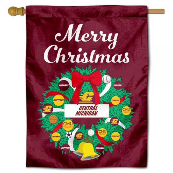 CMU Chippewas Happy Holidays Banner Flag measures 30x40 inches, is made of poly, has a top hanging sleeve, and offers dye sublimated CMU Chippewas logos. This Decorative CMU Chippewas Happy Holidays Banner Flag is officially licensed by the NCAA.
