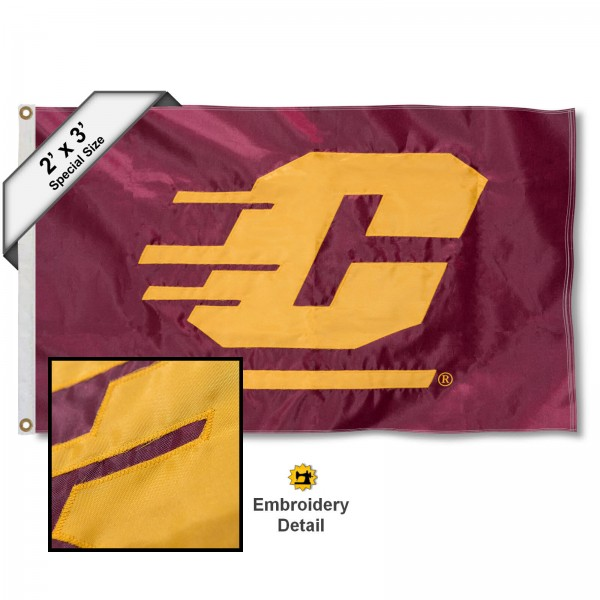 CMU Chippewas Small 2'x3' Flag measures 2x3 feet, is made of 100% nylon, offers quadruple stitched flyends, has two brass grommets, and offers embroidered CMU Chippewas logos, letters, and insignias. Our 2x3 foot flag is Officially Licensed by the selected university.